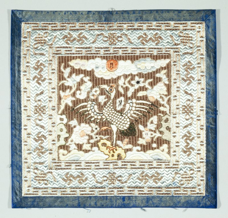 manchurian crane, counted stiich embroidery on silk gauze