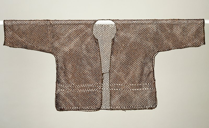 dark bamboo sleeved undergarment with leather tie in front