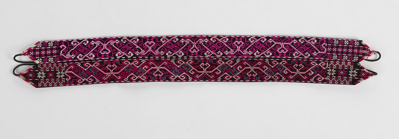 two bands joined, each with a loose tie on either end; organic pattern in purple, white, green, black and fuscia