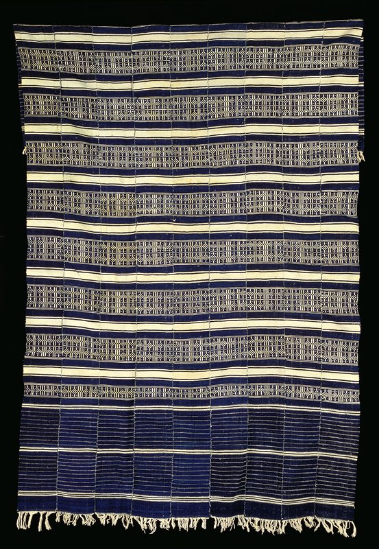 plain weave, indigo and white; stripes and patterns; white fringe at each end