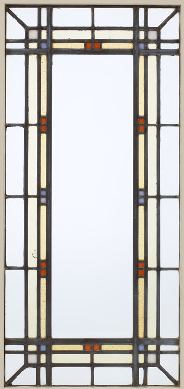 clear glass panels with yellow bars and light blue, medium blue and orange squares at borders; received mounted in wood frame with 98.256.5.7