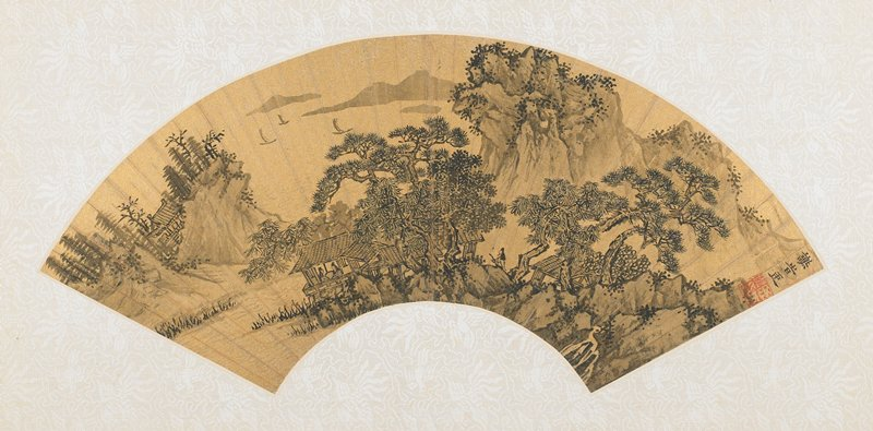 fan mounted as an album page; five structures in a waterside tree-covered location, building nestled between two hills to left and three boats with full sails at top left