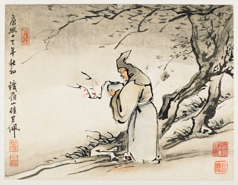 figure wearing a hooded garment, seen in profile from PL side, holding a pot with a flowering branch; tree at right side