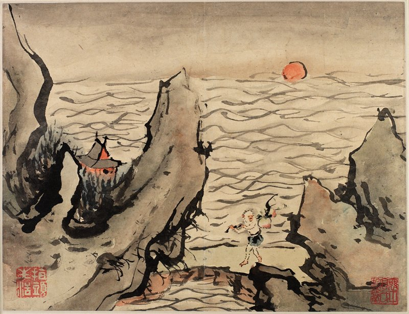 rocky outcroppings on a beach with building at left and monkeylike figure walking on sand; sun at horizon on water