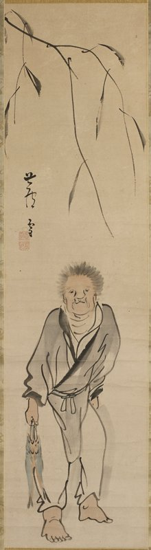 barefoot standing man with fuzzy grey hair holding two fish in his PR hand; tree branch above