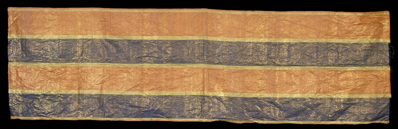 stripes; brocade metal thread; blue, gold, pink