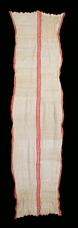 crinkled white silk with 3 vertical bands of red at center and 2 bands of red on each salvage edges