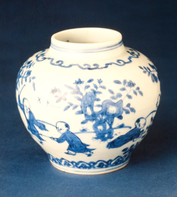 jar, porcelain, Ming Dynasty, Chia Ching Period, 1522-66. Underglaze blue and white ware. Scene shows children at play.