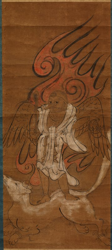 Winged, hairy male figure with long nose, wearing a white robe and headband, holding a sword in his PR hand and a loose coil of rope in his PL hand and standing on a white doglike animal with snakes around its ankles; flames behind