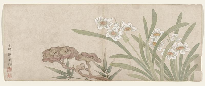 leaf from a small album of flower paintings; white daffodil-like flowers with yellow centers at right; fungus left of flowers; single column of calligraphy lower left with 2 red seals below