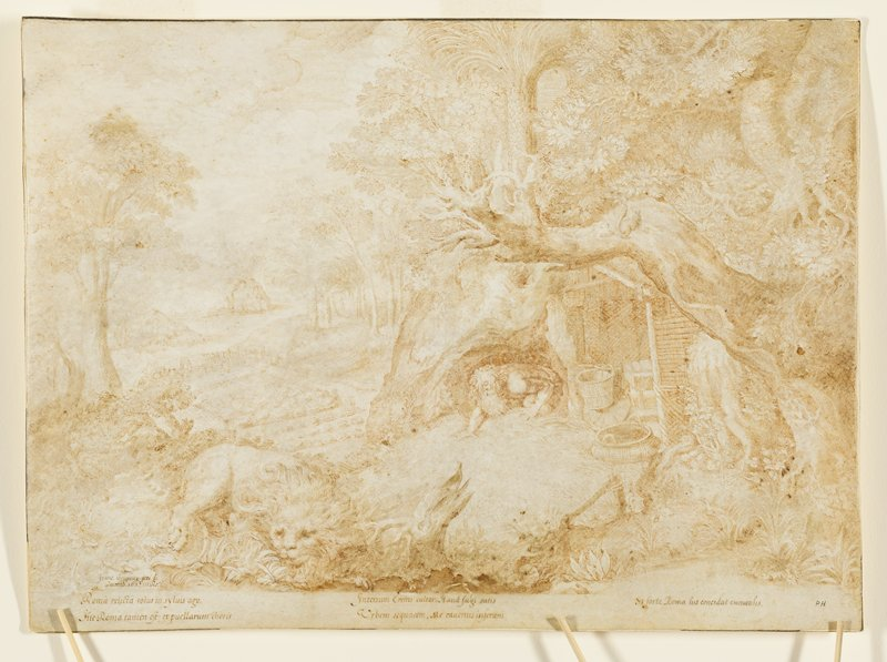 mounted on stiff paper; St. Jerome, with long curly white hair and long beard, crawling out of a cave; baskets in a lean-to to right of cave; lion in foreground, LRQ; lush landscape scene with large tree at left; inscription at bottom