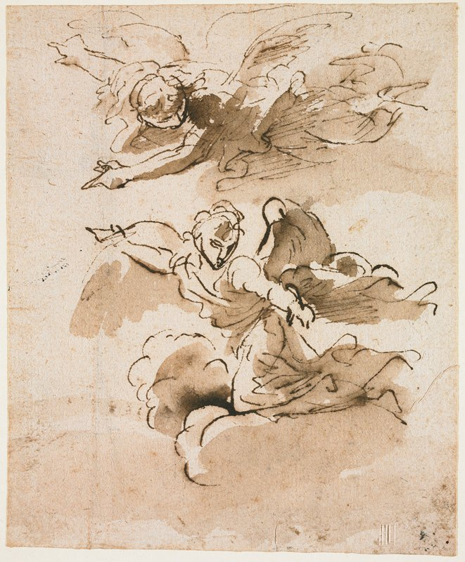 mounted on ivory paper; two angels flying toward left; angel at bottom kneels on a cloud; angel at top is flying horizontally