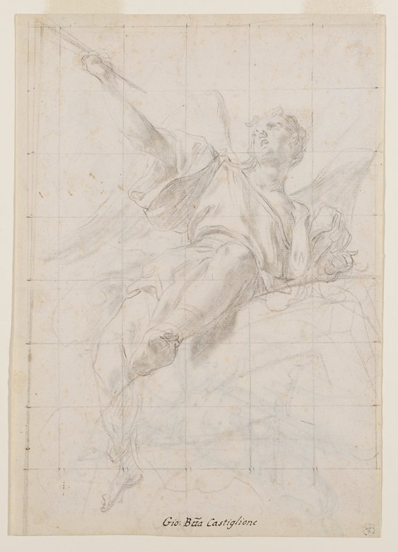recto: winged figure partially reclining on a curved element; figure holds a staff (?) in PR hand with outstretched arm; slightly foreshortened head; squared off in a grid; verso not examined--received framed