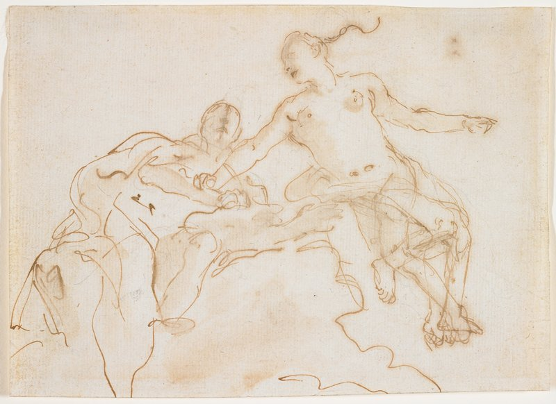 sketchy, unfinished; two figures; left figure reclines on cloud; right figure with arms out, PR hand touching arm of left figure; legs of right figure redrawn several times--figure has four legs