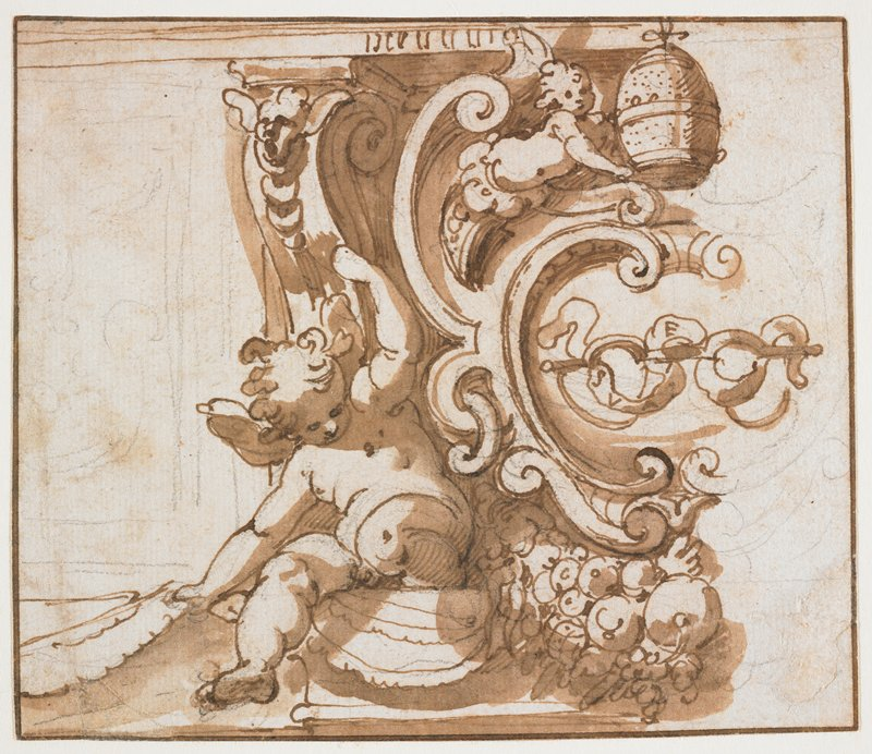 mounted on ivory paper; architectural element with scrolls; putto at left sitting on architectural element; tiny putto in URQ