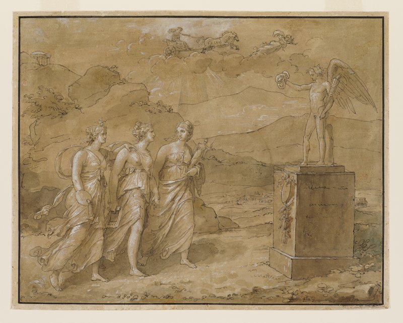three striding female figures at left, each carrying an attribute: pallet and brushes, building plan, small sculpture; sculpture at right of torch-bearing winged figure holding three foliate crowns; Apollo riding his chariot in the sky overhead preceded by a winged figure
