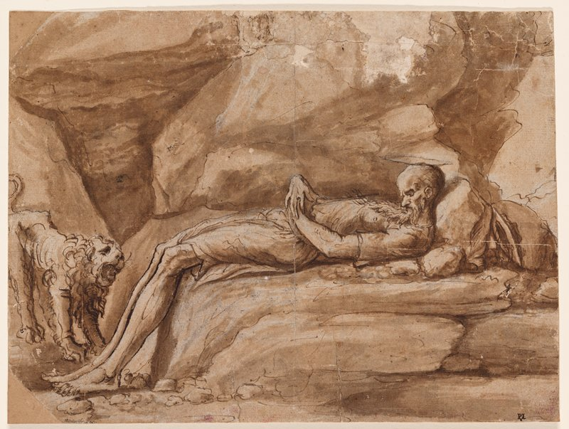 thin bearded man with long limbs, lying on rocks with head bent upward against rock-pillow, hands on abdomen and feet on ground; small roaring lion at right