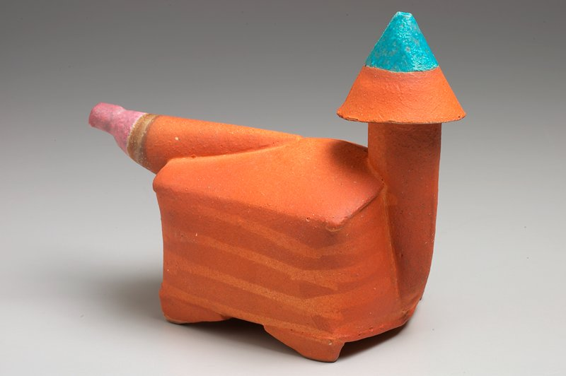 irregular rectangular body with domed top, curved sides; tube-like mouth at wide end of body; bulbous horizontal spout, tapering to a small opening; orange body with horizontal stripes; cone-shaped cover with turquoise top; pink at end of spout