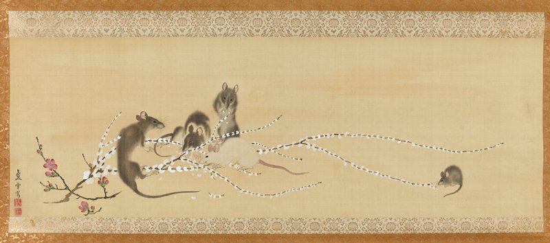 five mice nibbling on long, thin branch of white rice-cake flowers at L; pink flowering sprig across white flowers at L; lone mouse nibbling on end of branch at far R; ivory roller ends