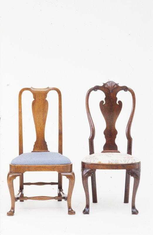 side chair said to have belonged to Sir William Pepperrell; fiddle shaped splat in back, cabriole legs and duck feet 1930 Mr. I. Sack said that he believed the piece was made in Salem or Marblehead MS
