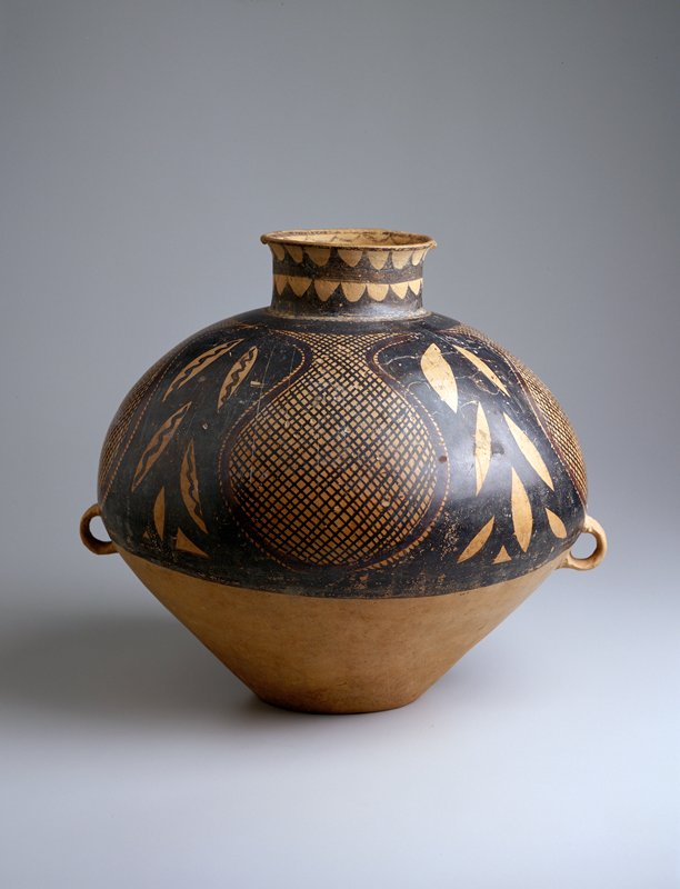 Banshang (Pan Shan) Burial Jar, earthenware with painted and burnished decor