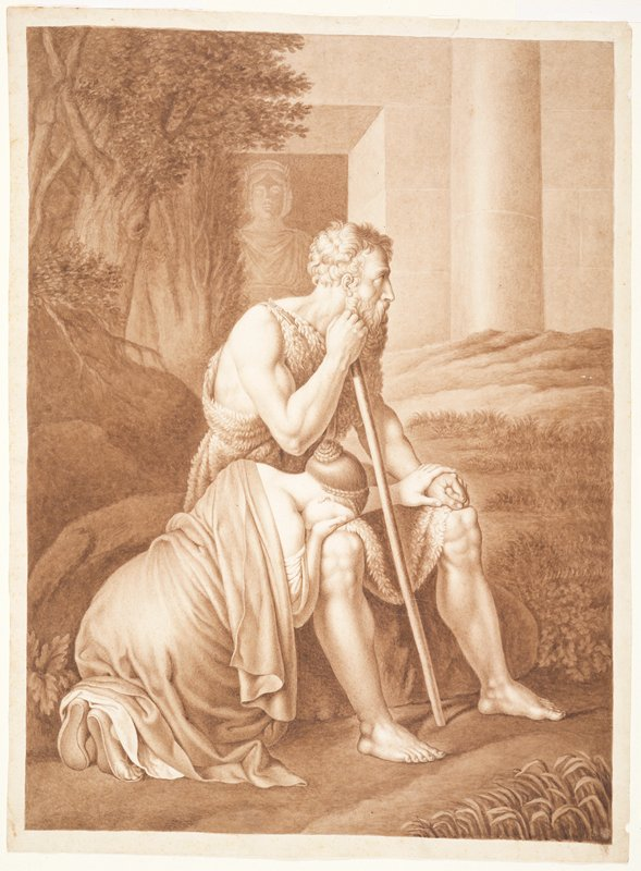 seated man with staff; woman kneeling with her head on the man's knee