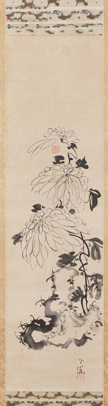 ink drawing of three chrysanthemum blossoms over an irregular scholar's rock