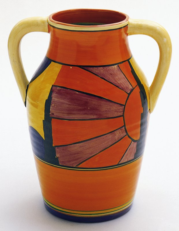 glazed jug with handles with sun ray and skyscraper motif