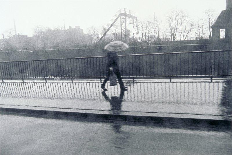rainy day, figure with umbrella