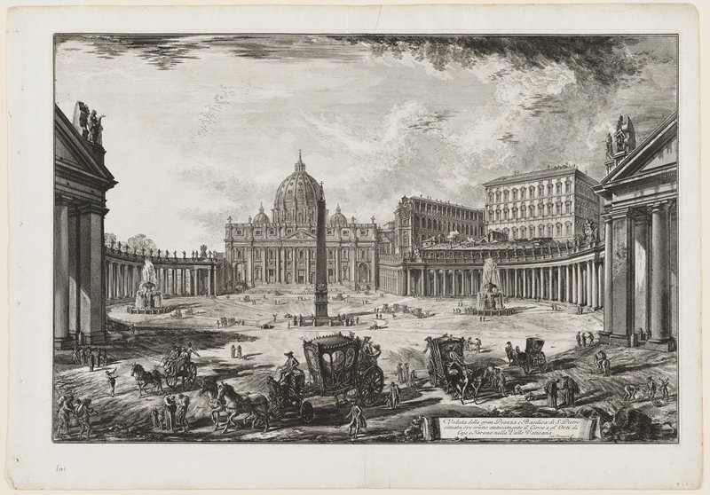 "4; title on scroll towards R below: 'Veduta della Gran Piazza e Basilica di S. Pietro;"" black and white"