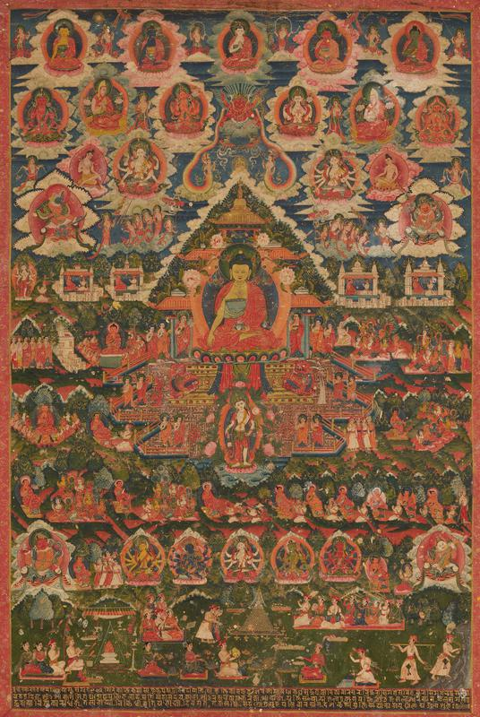 A thanka, pigments on fabric, wood; symmetrically arranged deities in the upper register; donor figures represented at the bottom in native dress; figures are engaged in various consecration ceremonies; the mount of this thanka is painted with designs imitating the imperial Chinese brocade typically used to frame thankas belonging to important monasteries
