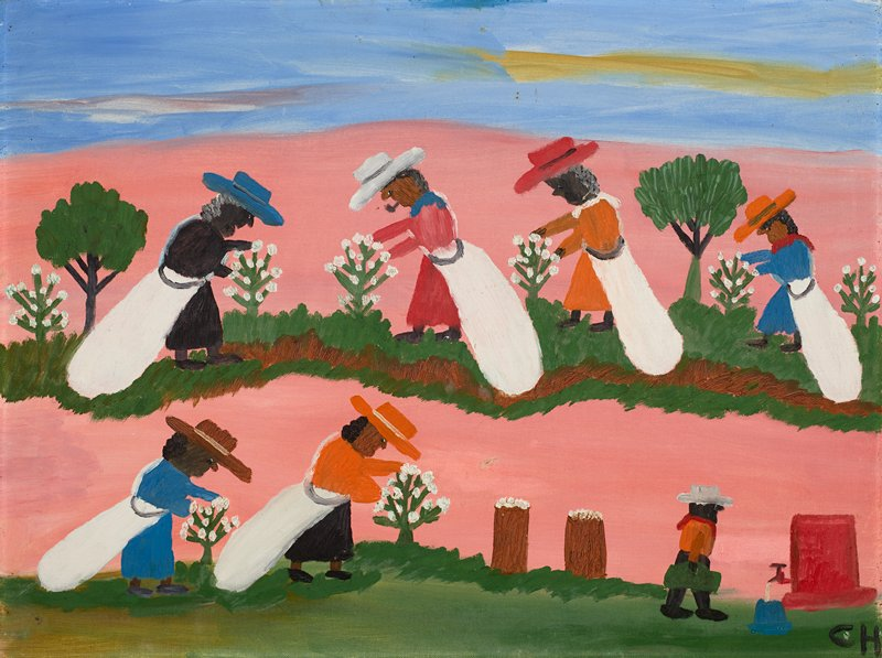 Genre. Naive. Primitive. African American. Six figures picking cotton; one smaller figure headed toward a water spigot in LR.