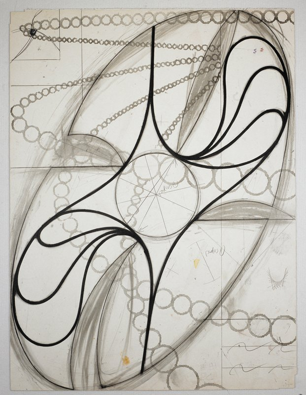 Sculptural abstraction featuring a large elliptical object with black spiraling lines around its center; light blue circles throughout