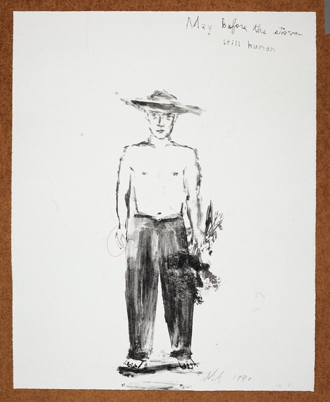 """Full length portrait of a man in a wide rimmed hat, clothed from the waist down; he holds a bushel of flowers in his PL hand and faces the viewer; the words """"May before the storm"""" inscribed, UR"""