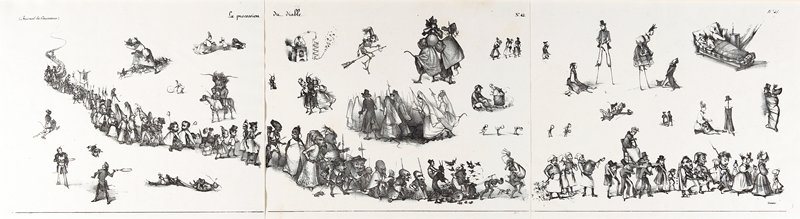 three lithographs depicting a procession of various characters