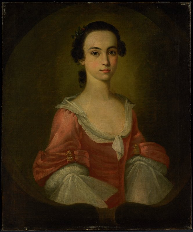 Portrait of Mrs. Gardner Greene. Half-length portrait, three-quarters life size, of lady, with rose-colored bodice and flaring sleeves. White fichu. Dark hair drawn back from forehead and worn low on neck. Inner oval, broken at bottom, frames portrait.