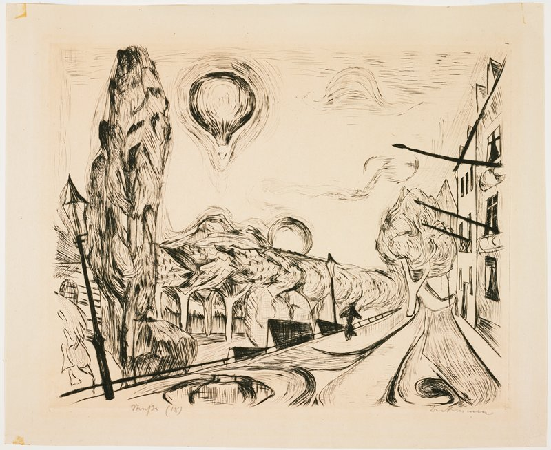 abstracted landscape with tall tree at left; road in front of buildings at right; grove of trees below at left; air balloon in sky, ULQ