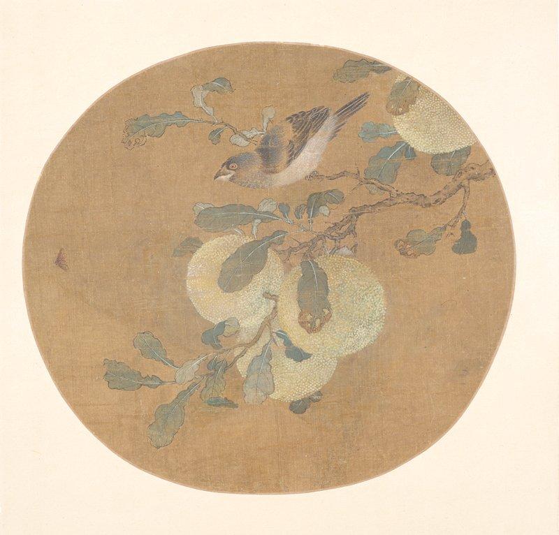 oval fan mounted to cardstock folder