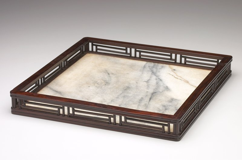 shallow tray with cream, grey and tan streaked marble base; openwork galleried wood sides