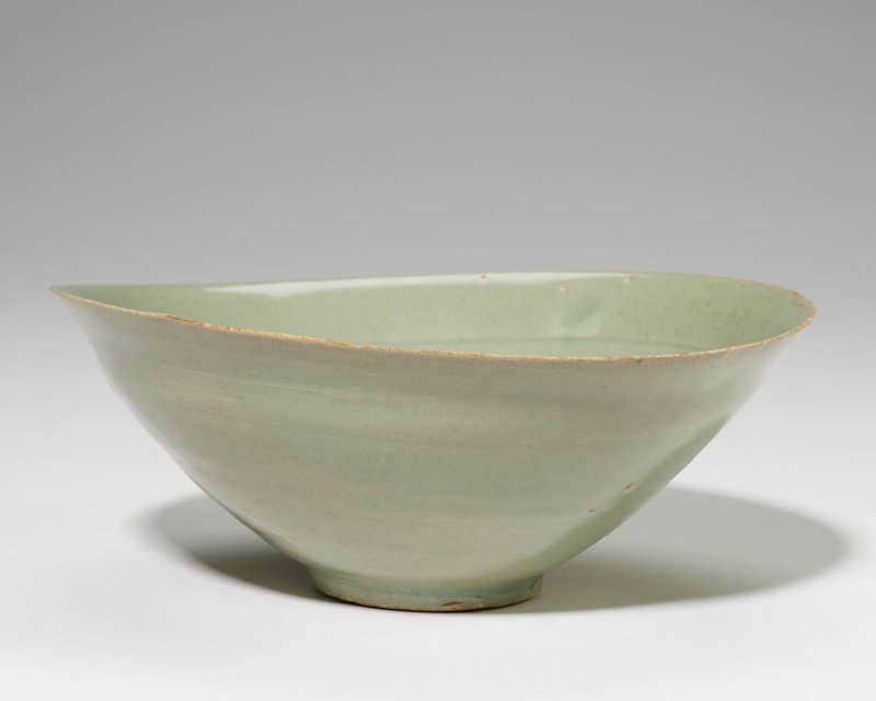 Bowl, Celadon glaze, undecorated, thin folded rim. Extremely thin and light.