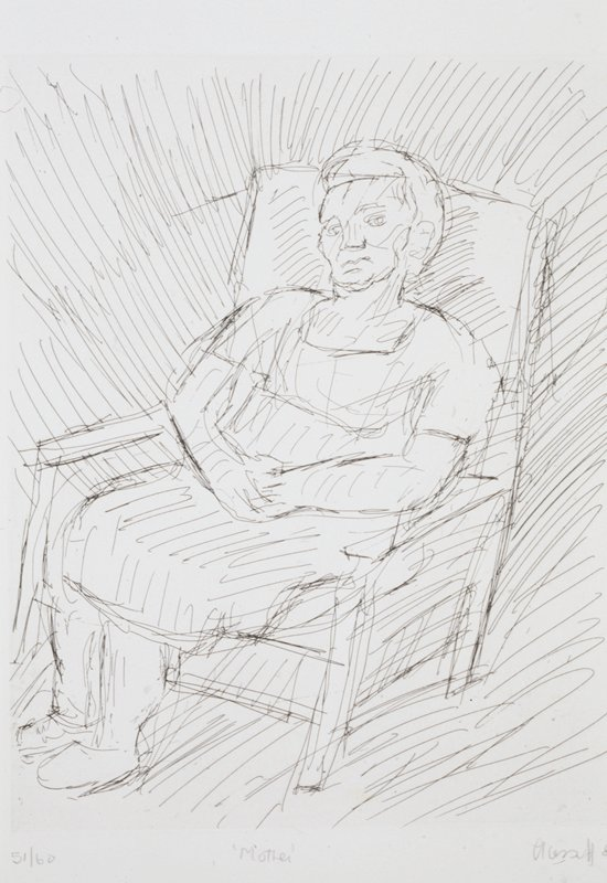 Portrait of a woman seated in an armchair, hands clasped.