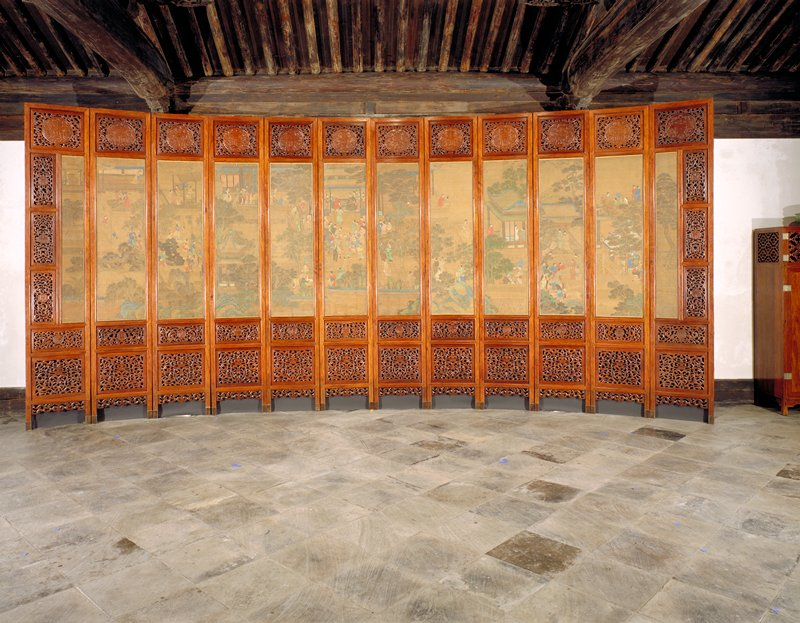 twelve panels; each panel consists of central painting and three carved panels; one square panel above painting with large medallion; two panels below painting rectangular above square; small medallion in rectangular panel, smiliar design lower square panels throughout
