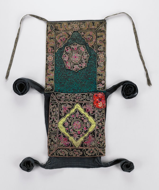 3 panels (one blue, undecorated) with 3 pairs of ties; top panel with green and black brocade ground, with dragons, insects and flowers embroidered on black; bottom panel with floral embroidery and sequins on black; red floral print pouch pocket