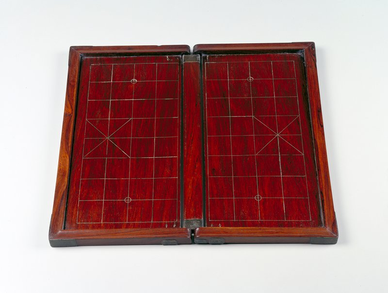 complete collapsible chess set, playing pieces not sent with board