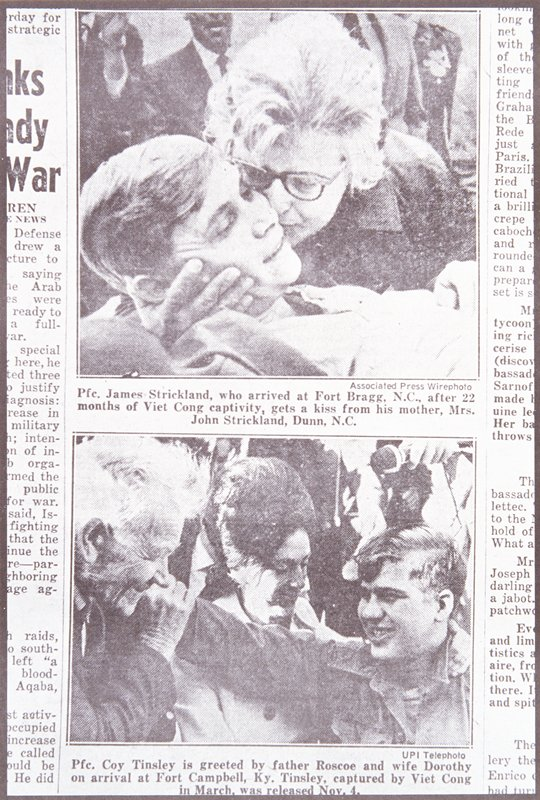 two newspaper photograph of men being greated by their family members