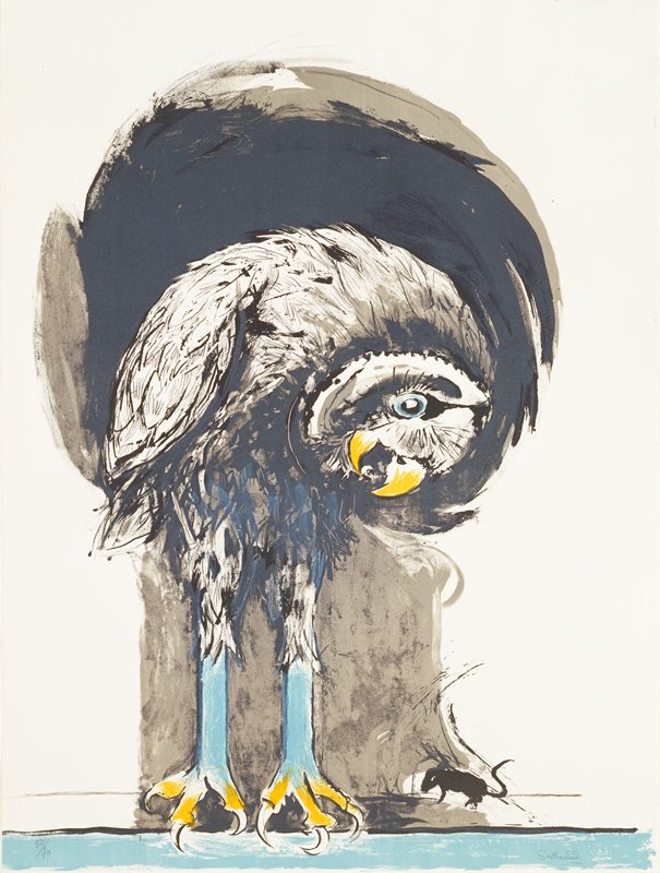Perched bird of prey peering at a mouse; no. 9 from a portfolio of 25 lithographs