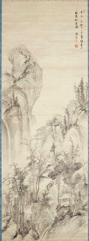 dense landscape containing trees and an empty hut in the foreground; scholar seated in a multilevel pavillion built into the side of a mountain at middle and a towering twisted mountain peak with waterfall emerging from the left in the distance