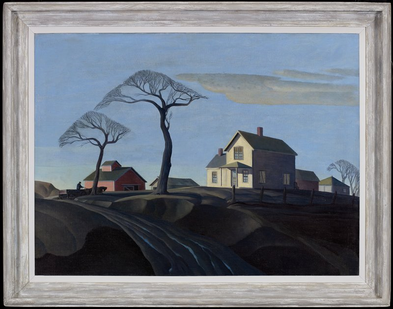 landscape. farmhouse at right center road vanishes from front center to left side of canvas; at left center, a farmer drives his horse-drawn cart under one of a pair of leafless trees standing in front of the house