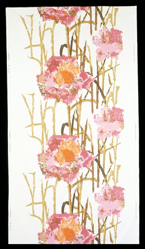 Four repeats of pattern; large and smaller flower image in pink, rose, orange, brown and tan on a white ground with brown and greenish brown stalks and leaves