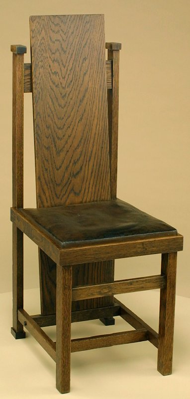 oak with original leather-covered slip seat